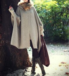 Women  apricot cape Coat winter coat Autumn Woman Wool Long Knitted Coat Sweater  cloth coat Hooded Cape/clothing /jacket  M-L. $76.90, via Etsy.