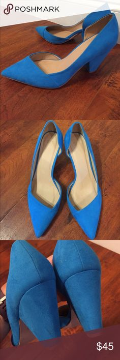 ASOS Bright Blue Suede Heels Excellent condition, worn twice. Signs of wear on the bottom and the 1 small spot pictures, but none are visible when wearing. 3'' heel. Asos Shoes Heels