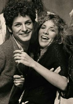 Stevie Nicks & Lindsey Buckingham, Tusk photo shoot.  They were obviously enjoying this!!!