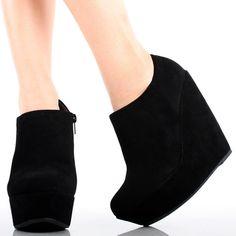 Black Suede Round Toe Women Platform High Heel Wedge Ankle Dress