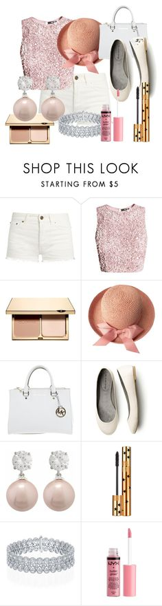 """""""Pink and White"""" by cvlacques on Polyvore featuring Yves Saint Laurent, Clarins, Michael Kors, Jankuo and Charlotte Russe"""