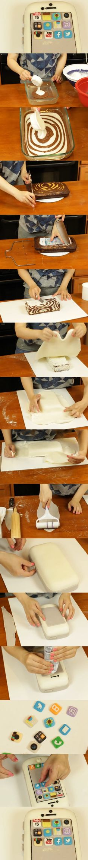 Creative cake tutorial   IPhone zebra flip sugar cake
