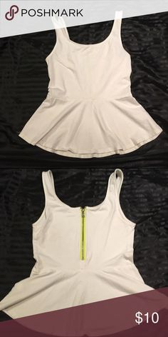 Express peplum tank top Express peplum tank top white with neon yellow zipper detail Express Tops Tank Tops