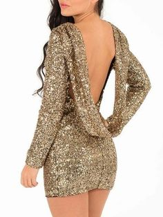 Luxurious Golden Sequin #Backless #Party #Dress