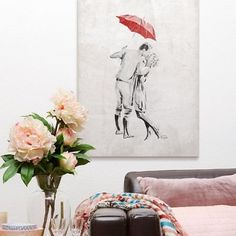 Monochromatic art with a pop of color! Romantic Love by Onrei Art from Great BIG Canvas. Fall in love with more romantic wall art from Great BIG Canvas. Love Wall Art, Love Art, Wall Art Decor, Dorm Room Art, Living Room Art, Monochromatic Art, Kissing In The Rain, Photo To Art, Framed Prints