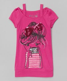 Magenta Camera Girl Off-Shoulder Tee - Toddler & Girls by Dreamstar #zulily #zulilyfinds