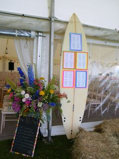 Surfboard wedding table plan - with a marquee you can bring a lot of 'you' to your day!