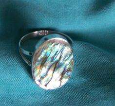 Vintage Sterling Silver Abalone Shell Ring by walkingwithjulann on Etsy