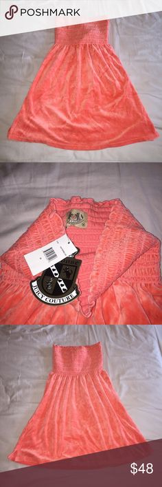 NWT Juicy Couture Smocked Velour Dress Size large, made of 80% cotton/20% polyester - material is velour so super soft and a cool coral color.  This used to be THE dress in the early 2000's so I guess this is vintage?  Lol.  Bought directly from Juicy's website about 12 years ago - perfect for summer! Juicy Couture Dresses Mini