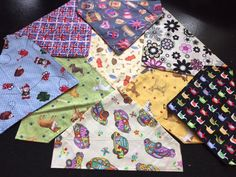 Cotton dog bandanas (approx 8 1/2  inches), dog breeds, frisbees, gnomes, retro cars, union jack by Bellasbananas on Etsy