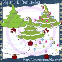 Christmas Trees 13- #Clipart #ResellableClipart #Christmas #ChristmasTrees #Decorations