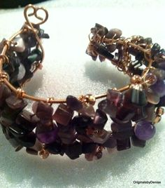 Amethyst Wire Wrap Heart Bracelet  Hand by Originalsbydenise