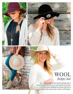 Monogrammed Wool Floppy Hat / Winter Floppy by OysterBayEmbroidery