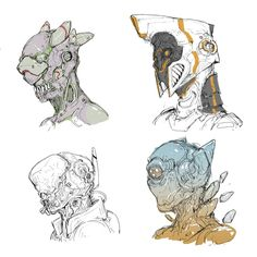 cyborg heads by Ching Yeh on ArtStation. Character Creation, Character Concept, Character Art, Game Character Design, Cyberpunk Kunst, Space Opera, Arte Robot, Robots Characters, Robot Concept Art