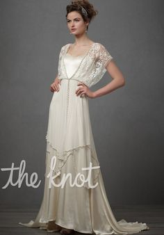 BHLDN. Lita Gown. Gown features pearl beaded trim, coverlet sleeves, beading and lace.