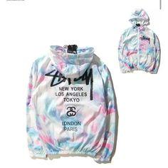 Color Block Tie Dye Letter Printed Long Sleeve Zip Up Unisex Hoodie Stussy Tie Dye, Polo Sport, Windbreaker Outfit, Mens Windbreaker, Mode Chanel, Look Cool, Rain Jacket, Jacket Men, Shirt Jacket