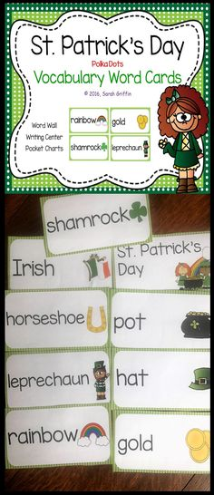 St. Patrick's Day | Vocabulary Picture and Word Cards | Word Wall | Bulletin Boards | Pocket Charts | ESL | ELL | Writing Center | Preschool | PreK | Kindergarten | First Grade Writing Center Preschool, Kindergarten Reading Activities, Reading Resources, Kindergarten Classroom, Vocabulary Word Walls, Vocabulary Cards, Rainbow Words, Pocket Charts, Illustrated Words