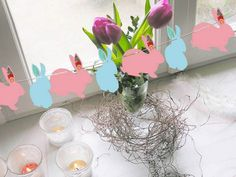 paper bunny designs and flowers for window decoration