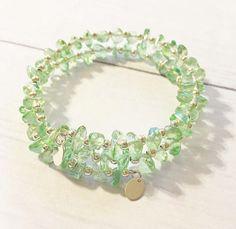 Light Green Glass Chips Bracelet, Beaded Bracelet , Memory Wire Bracelet, Bohemian Bracelet, Wrap Bracelet