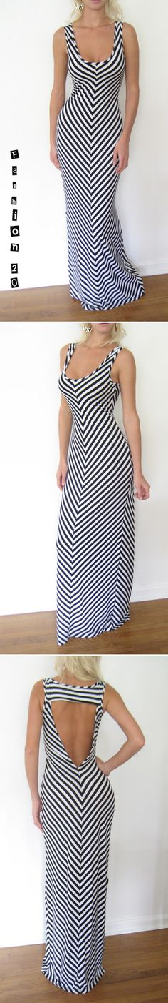 Black White Stripe Long Floor Open Back Mermaid Fishtail Flare Maxi Dress L | eBay