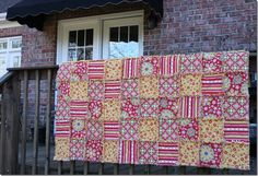 Rag Quilt Yellow and Red 056