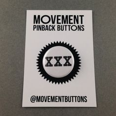 XXX Straight Edge Pinback Button Pin Badge 1.25 Inch On Card Handmade White Music Punk NYHC Drug Free DARE Healthy Movement Pinback Buttons