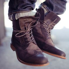 Interesting mix of leather & suede, wing-tipped rugged boots.