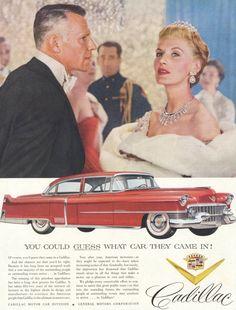 1954 Cadillac Car Ad Red Retro Automobile Vintage Advertising Art Print Wall Decor