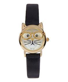 Love this Black & Goldtone Cat Face Watch by Geneva Platinum on #zulily! #zulilyfinds