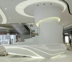 Futuristic interior decoration ideas for your home 3 Lobby Interior, Home Interior, Interior Architecture, Interior Decorating, Interior Ideas, Reception Desk Design, Hotel Reception, Halls, Futuristic Interior