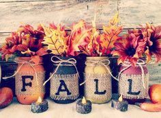 Fall Mason Jars Set Of 4. Decoration CraftsFall DecorationsSeasonal  DecorSeptember ...