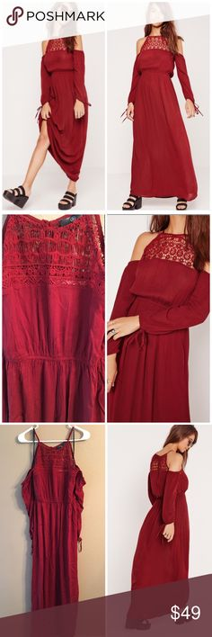 """Embroidered off shoulder dress I really think these photos do not do justice to how gorgeous this dress in actuality! This cold off shoulder dress features gauze like material with long sleeves. Embroidered top with back button closure. Elasticized waist. Runs true to size. Bust 36-38"""", waist 28"""", length 58"""". Beautiful deep red color. Viscose material. New with tags ❌no trades Missguided Dresses Maxi"""