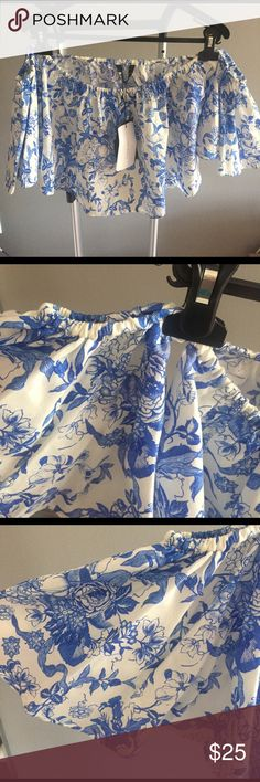 Zara blouse Never worn with tags. Of the shoulder cropped top. Please see matching skirt. Zara Tops Crop Tops