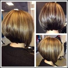 Klassische Stacked Medium Bob Haircut: Frauen Frisuren-Ideen ... | Einfache Frisuren