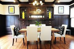 The formal dining room features period details like ornate built-in cabinetry. Photo: Emily Payne