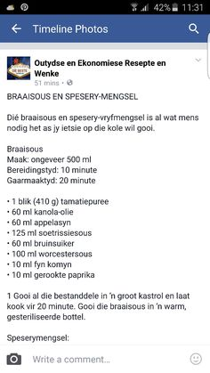Braaisous en spesery mengsel Sauce Recipes, Meat Recipes, Recipies, Braai Recipes, Bar Food, South African Recipes, Father's Day Diy, Food Facts, Barbecue Sauce