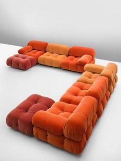 Mario Bellini Sectional Sofa – Customizable Camaleonda Sofa Tri-Tone Italian Post-Modern Velvet Mario Bellini, 'Camaleonda' sofa, in orange upholstery by Italy, This sofa is made on request in our upholstery atelier. The sectional elements this sofa Furniture Decor, Furniture Design, Bedroom Furniture, Modular Furniture, Funky Furniture, Luxury Furniture, Bedroom Decor, Casa Retro, Interiores Design