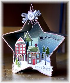 Stampin Up Holiday Home star 3d Christmas scene. Absolutely beautiful