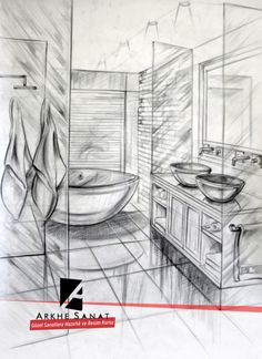 Perspective Drawing Lessons, Perspective Sketch, Drawing Interior, Interior Sketch, Architecture Sketchbook, Concept Architecture, House Sketch, Art Drawings Sketches, Pictures To Draw