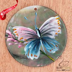 HAND PAINTED BUTTERFLY MOTHER OF PEARL SHELL NECKLACE PENDANT ZL30 06654 #ZL #PENDANT