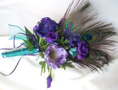 Peacock Bridal Bouquet Turquoise Purple Budget Bride silk Wedding flowers accessories. $55.00, via Etsy.