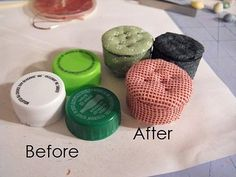Bottle Cap Footstools Photo Tutorial – This blew my mind! These R 2 small for Barbie's feet but there are so many other bottle tops we can adapt - Bottle Cap Footstools Diy Barbie Furniture, Fairy Furniture, Furniture Ideas, Furniture Design, Miniature Furniture, Modern Dollhouse Furniture, Diy Dolls House Furniture, Sticks Furniture, Miniature Chair