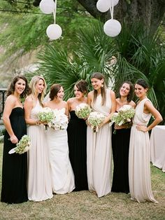 in love with the style of the beige bridesmaid dress.