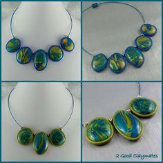 2 Good Claymates: CaBezel Bead Collar Necklaces