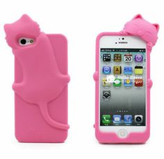 Coque Iphone 5 silicone chat pink