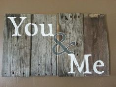 You and Me sign in Grey and White, perfect for bedroom #decor #rustic #sign #wedding