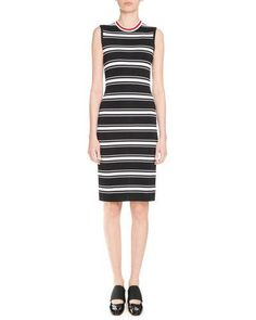 W0G9Z Givenchy Sleeveless Striped Midi Dress, Black/White