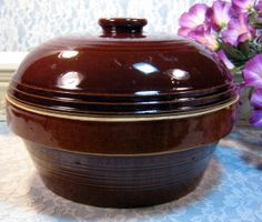 Early Vintage Brown Pottery Casserole or Covered Bean Pot