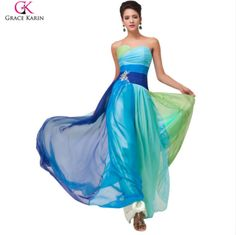 Cheap dress floral, Buy Quality dresses hippie directly from China dresses office Suppliers: Abendkleider Elegant Grace Karin Robe de Soiree Long Flower Print Pattern Ball Wedding Party Formal Dresses Evening Dres Designer Evening Dresses, Chiffon Evening Dresses, Formal Evening Dresses, Formal Gowns, Strapless Dress Formal, Dress Long, Elegant Gowns, Ombre Prom Dresses, Royal Blue Prom Dresses