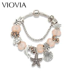 VIOVIA Fashion DIY Jewelry Beige Crystal Beads Bracelet For Women Antique Silver Color Starfish Charm Bracelets Gifts DB16024